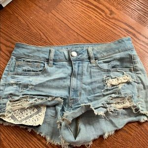 White washed American eagle jean shorts